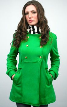 I want a Kelly Green peacoat this winter. I especially want this one!
