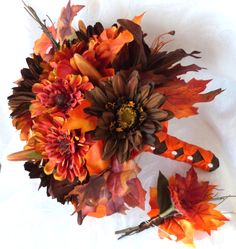 Fall colors Bridal bouquet silk flower wedding bouquet shades of red and brown bouquet and boutonniere