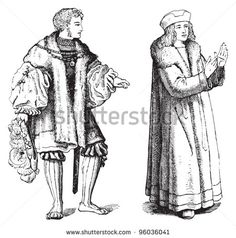 Medieval coat - overcoat (Schaube) / vintage illustration from Meyers…