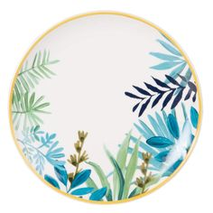 Yellow and White Earthenware Dinner Plate with Leaf Print on Maisons du Monde. Pottery Painting Designs, Pottery Designs, Paint Designs, Ceramic Cafe, Ceramic Plates, Ceramic Painting, Diy Painting, Keramik Design, Decorative Storage Boxes