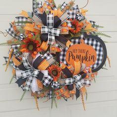 Fall Deco Mesh, Buffalo Plaid, Pumpkin, Wreaths, Orange, Halloween, Home Decor, Pumpkins, Decoration Home