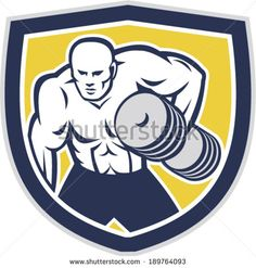 Illustration of a strongman muscular guy lifting dumbbells weight training viewed from front set inside shield crest shape done in retro style. - stock vector #bodybuilder #retro #illustration