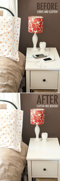 Clutter Free Bedroom Charging - The Chic Site