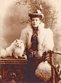 Photograph of a cat lady, wearing a fabulous coat and muff set. Vintage Pictures, Old Pictures, Old Photos, Crazy Cat Lady, Crazy Cats, Old Portraits, Cat People, Vintage Cat, Cute Animal Pictures