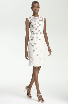 Embroidered Flower Sheath Dress - Lyst  Didn't Jill Biden have this dress on at one time?   So Presidential