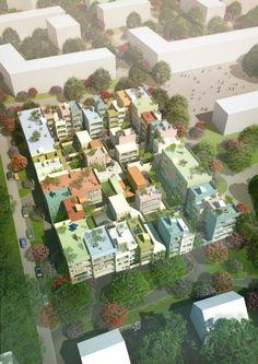 MVRDV Wins Housing Competition in Emmen, Switzerland | Aerial view of Urban Hybrid Emmen: 95 homes in 16 types (Image courtesy of MVRDV) | Bustler