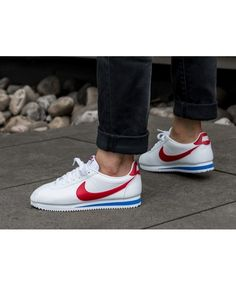 c6f3f456157e Nike Cortez Leather Trainers In White Red Blue Nike Cortez Mens