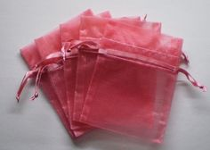 120 ROSE PINK 3x4 Sheer Organza Bags  Party by CandleLynnSupplies, $15.95