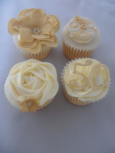 golden wedding cake with cupcakes 50th wedding anniversary cupcakes 50th anniversary 14779