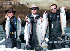 A double hat-trick! Six awesome Chinook salmon, Naden Harbour, British Columbia.