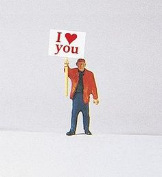 Individual Figure - Pedestrian -- Man w/I Love You Signboard - HO-Scale (psr29039) Preiser HO Scale Model Railroad Figures