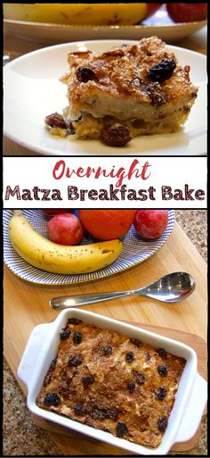 This delicious breakfast bake has a light, custardy texture & a sweet & subtle matza flavour. With raisins & cinnamon for extra yumminess, it's a great start to the day! Perfect for Pesach (Passover) or any time of year :-) Passover Desserts, Passover Recipes, Jewish Recipes, Passover Food, Passover Wishes, Passover 2017, Breakfast Casserole With Bread, Breakfast Bake, Breakfast Recipes