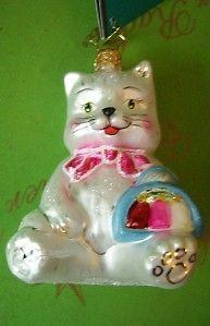 Christopher-Radko-SASSY-CAT-white-kitty-kitten-Retired