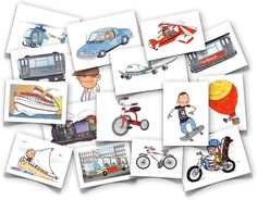 Vehicles -  comes with all the images listed below plus corresponding word cards.  car, motorcycle, airplane, boat, hot air balloon, ship, bus, helicopter, passenger plane, train, bike, skateboard, monorail, city train, walk, run, tricycle, submarine