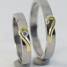 Matching heart Wedding rings band set, white gold and yellow gold 18k, 0,05Ct diamond. Bright finish. Rediseñado y elaborado por Stephany Catalán Aravena Love And Respect, Wedding Rings, Engagement Rings, Jewelry, Enagement Rings, Jewels, Schmuck, Anillo De Compromiso, Jewerly