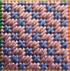 Block 13 for the needlepoint Painted Stitches Sampler is the Diagonal Hungarian Ground Stitch. This stitch is a set of diagonal Mosaic stitch combined with short Jacquard type stitches. I stitched all the Mosaic stitches first and then filled in. Plastic Canvas Stitches, Plastic Canvas Coasters, Plastic Canvas Tissue Boxes, Plastic Canvas Crafts, Plastic Canvas Patterns, Bargello Patterns, Bargello Needlepoint, Needlepoint Stitches, Needlework