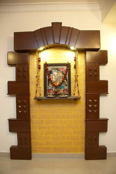 Art tanjor paintings on pinterest indian homes puja - Wall mounted wooden temple design for home ...