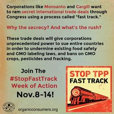 Don't let international corporations run over our democracy! Join the campaign to ‪#‎StopFastTrack‬, because we have a right to know what's in our food! Learn how you can help: http://orgcns.org/1EmIngX Join the Thunderclap here: http://orgcns.org/1zyjEqd