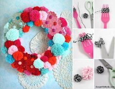Pom Pom Wreath. This would be fun!!