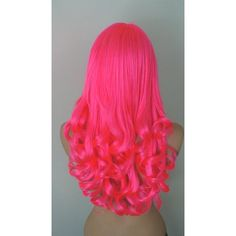 Neon Pink wig. Hot pink curly hair wig. Lolita wig. Costumes wig. ($68) ❤ liked on Polyvore featuring costumes, pink halloween costumes, pink costume, pink wig costume and wigs costume