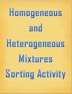 Heterogeneous and Homogeneous Mixtures PACKAGE | Student learning ...