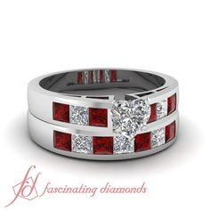 1.30 Ct Heart Shaped G-Color Diamond & Red Ruby Engagement Wedding Rings Set GIA #FascinatingDiamonds