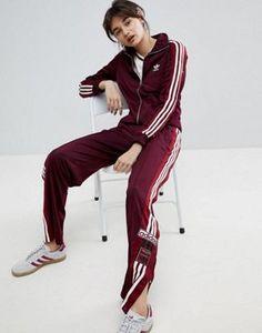 adidas Originals Adibreak Track Jacket   Popper Track Pants In Maroon Set  Adidas-asu 2a92797efc