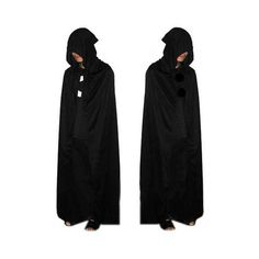 Rotita Solid Black Hooded Collar Death Costumes ($12) ❤ liked on Polyvore featuring costumes, black, cosplay costumes, role play costumes, black halloween costumes and black costume