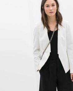 ZARA WOMAN WOMEN'S WHITE FABRIC BLAZER Ref. 2356/383 . NEW SEASON 2014 !
