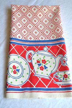 Vintage Kitchen Dish Towel - Red and Blue Teapot Print - Cotton Linen. $15.00…
