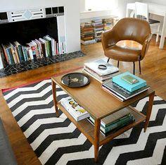 Fireplace + books