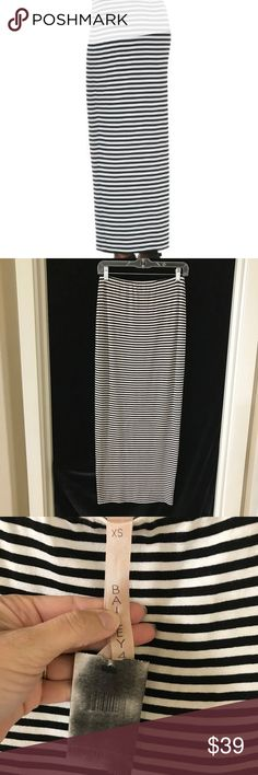 Bailey 44 Stella Striped Maxi Skirt Black White XS Black and white striped Stella maxi skirt by Bailey 44.  Brand new with tags.  Super snug / wiggle / bodycon style.  The new tag appears dark in the pics because I steamed out the wrinkles and sadly the steamer darkened the tag for some odd reason.  There is one very tiny snag in the fabric about mid-way down on the front side of the skirt (see pic #5).  Length of skirt measures approx. 37.5 inches. Bailey 44 Skirts Maxi