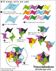 Let's variously make it with the unit origami Easy Origami Flower, Easy Origami For Kids, Useful Origami, Origami Flowers, Origami And Kirigami, Origami Ball, Origami Stars, Origami Paper, Origami Boxes