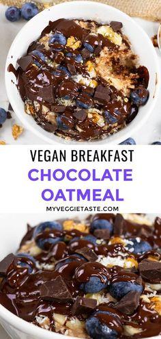 Vegan Chocolate Breakfast Oatmeal Vegetarian Brunch, Vegan Breakfast Recipes, Vegan Recipes, Vegan Dark Chocolate, Chocolate Oatmeal, Sweet Breakfast, Breakfast Ideas, Vegan Oatmeal Cookies, Vegan Baking