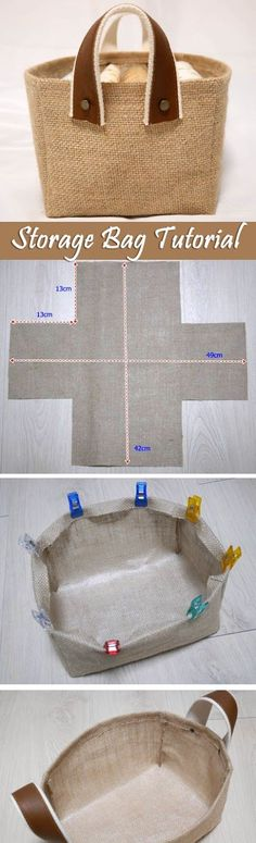 Storage Fabric Burlap Box Pattern and Tutorial. Bag Step by step photo tutorial… More