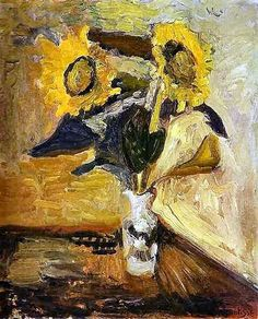 Vase of Sunflowers,  Henri Matisse.