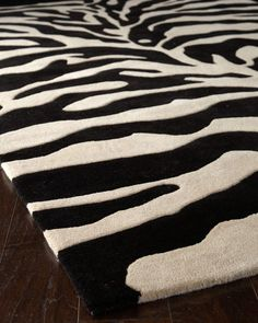 """""""Fair Ivory Zebra"""" Rug, The sensual black and ivory stripes of this hand-tufted wool rug are emphasized by deep hand carving. Cotton back. Sizes are approximate. Zebra Print Rug, Animal Print Rug, Zebra Rugs, Hand Knotted Rugs, Woven Rug, Zebra Decor, Unique Flooring, Transitional Rugs, Hand Tufted Rugs"""