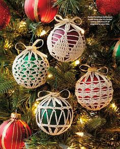 Crochet Christmas Ornament Covers Vintage Crochet PDF Pattern # Crochet Christmas Ornament Covers Vintage Crochet PDF Pattern # Always aspired to learn how to knit, nonetheless not sur. Crochet Christmas Decorations, Crochet Ornaments, Crochet Decoration, Christmas Crochet Patterns, Holiday Crochet, Crochet Snowflakes, Christmas Knitting, Christmas Tree Ornaments, Clear Ornaments