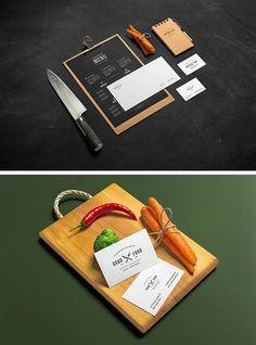 2 Mockups de papelería para restaurante