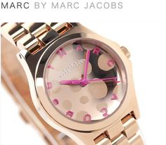 *New* Marc Jacobs Womens Watch MINI HENRY GLOSSY POP Rose Gold Pink /Box MBM3271