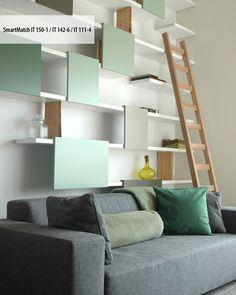 Contemporary High Loft Wall Shelf Designs by Ontwerpduo : contemporary wall shelf designs. Ikea Floating Shelves, Hanging Shelves, Open Shelves, Sliding Shelves, White Shelves, Floating Wall, Loft Wall, Wall Shelves Design, Wall Shelving