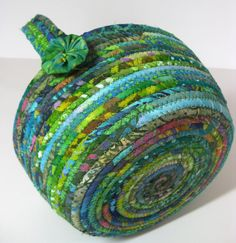 Rope Coiled Basket Scrappy Green Clothesline Bowl by SallyManke, $39.00