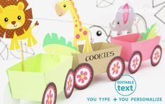Animal Jungle Train Party Favor Box Truck Paper by paperglitter