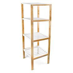 Regal Bambus 4 Ablagen weiß-braun: Amazon.de: Küche & Haushalt