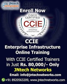 Dear All Greetings from *JNtech Networks* We are offering the Online *CCIE Enterprise Infrastructure training with the CCIE certified trainers  Benefits:  - Free Demo Session - Certified Trainers - 24/7 Lab Available - Regular (Monday to Thursday) or Weekend Batch is available - Online/Physical Classes are available. Enroll Now to get the benefits  Thanks and Regards Ravish Saifi Manager JNtech Networks info@jntechnetworks.com Call/Whatsapp: +91 8791199912