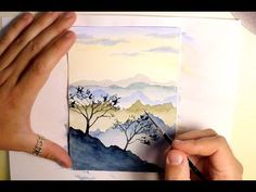 HOW TO PAINT MOUNTAINS LANDSCAPE - WATERCOLOR PAINTING - EASY STEP BY STEP TUTORIAL - SKY TREE #watercolorarts