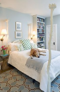 The white bed in Hanlon's bedroom came from the Sidwell Friends Next-to-New Sale. Shelves were installed on both sides of the bed because there is limited storage.