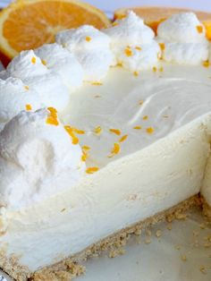 Orange Creamsicle Pie is a no bake dessert. Graham cracker crust, sweet cream layer, and a light & fluffy fresh orange layer. Fluff Desserts, Cream Cheese Desserts, Cold Desserts, Summer Desserts, No Bake Desserts, Easy Desserts, Delicious Desserts, Dessert Recipes, Cake Recipes