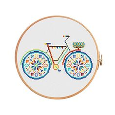 Summer bike with basket in bright colors - modern cross stitch pattern. Floss: DMC Canvas: Aida 14 White. Design Area: 117x71 stitches or 8,4 x 5,1 inch or 21,2 x 12,9 sm Canvas: Aida 16 White. Design Area: 117x71 stitches or 7,3 x 4,4 inch or 18,6 x 11,3 sm Canvas: Aida 18