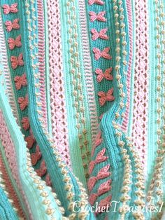 Mermaid Dreams Throw / new / handmade / afghan blanket / green / pink / coral / sea shell / baby / spring / unique -- 4 Sale